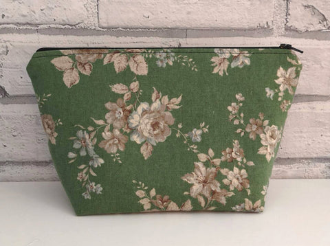 Green Floral Make Up Bag - The Curious Needle