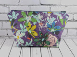 Grey and Purple Floral Make Up Bag