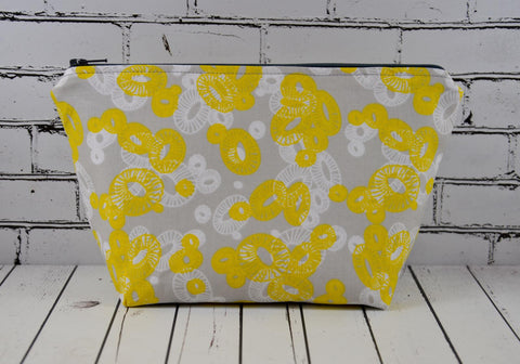 Grey and Yellow Floral Make Up Bag, Flowers Cosmetic Case