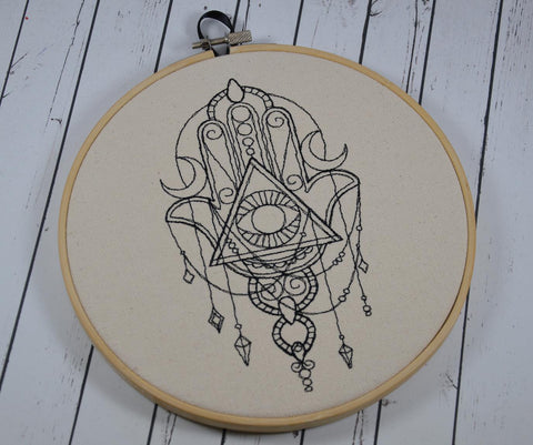 Hamsa Hoop Art - Machine Embroidery - The Curious Needle