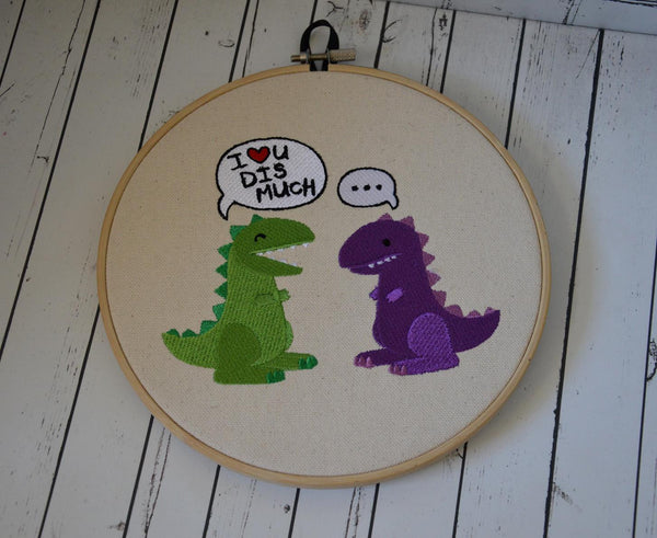 Funny Dinosaur Hoop Art - Machine Embroidery