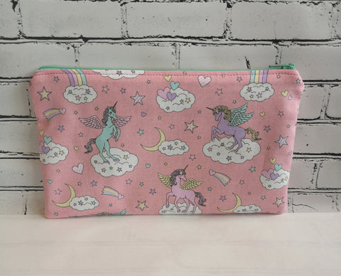 Pink Unicorn and Rainbow Pencil Case - The Curious Needle