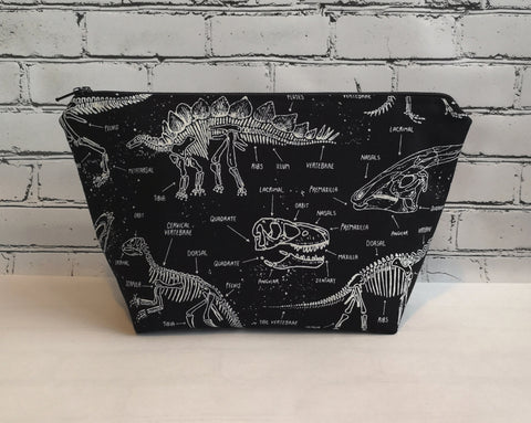 Glow in the Dark Dinosaurs Make Up Bag, Dinosaur Cosmetic Pouch - The Curious Needle