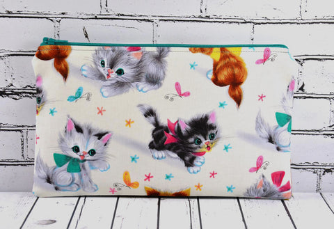 Kitsch Cat Pencil Case, Kitty Zip Pouch - The Curious Needle