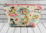 Kitsch Cats Makeup Bag, Large Zip Pouch