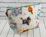 Kitsch Cats Makeup Bag, Large Zip Pouch - The Curious Needle