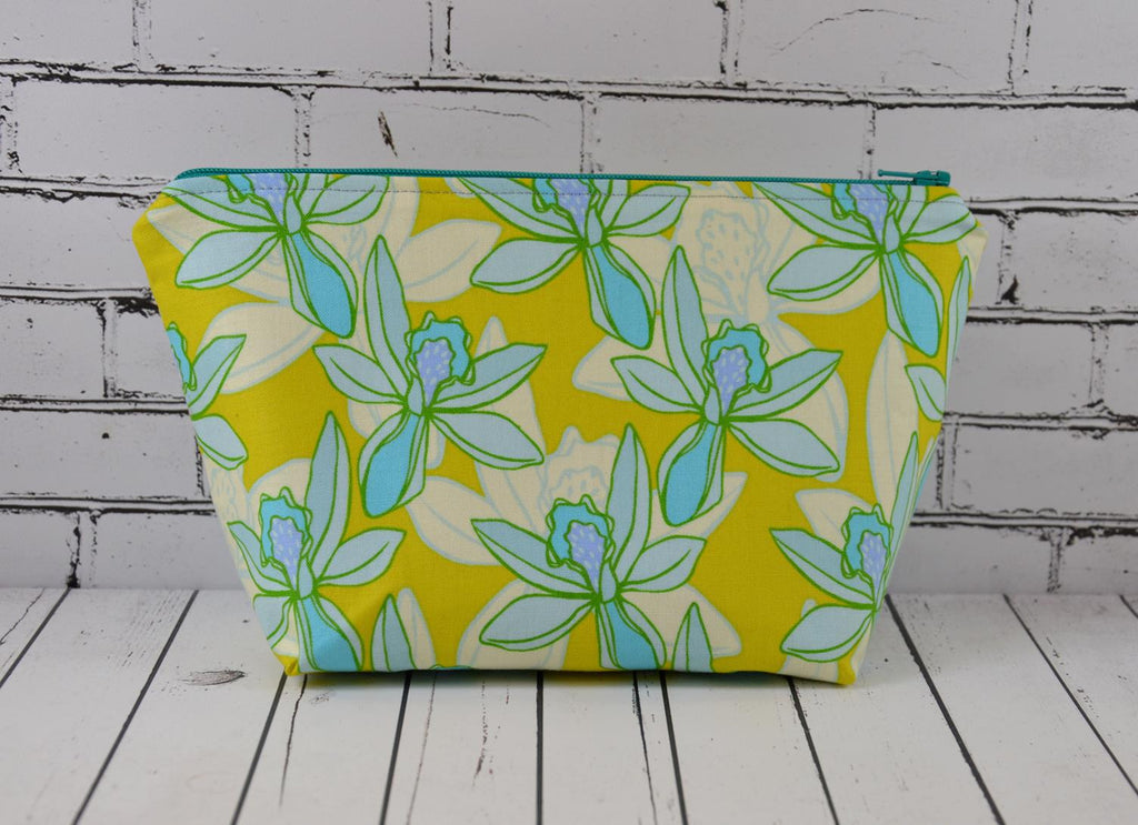 Lime Green and Blue Floral Cosmetic Bag