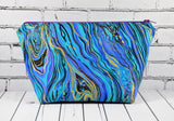 Marble Effect Cosmetics Case, Peacock Jewel Toned Makeup Bag - The Curious Needle