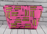 Metallic Mascara Print Make Up Bag, Cosmetic Pouch - The Curious Needle