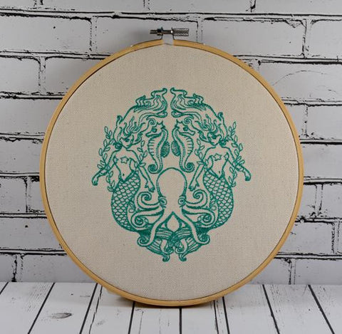Mermaid Hoop Art- Machine Embroidered.