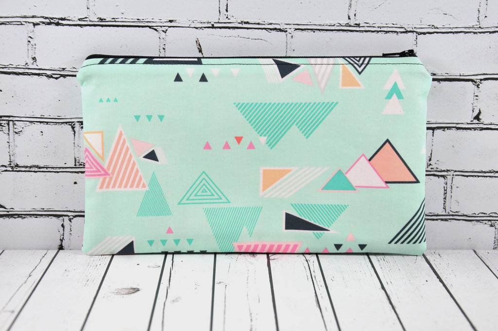 Geometric Mint Pencil Case Bag, Pencil Holder, Mint Pink Zip Pouch