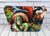 Classic Movie Monsters Makeup Bag, Horror Movie Zip Pouch - The Curious Needle