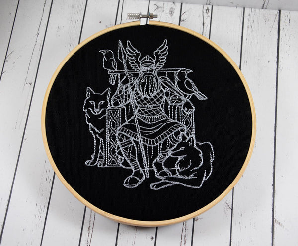 Odin of Asgard Embroidered Hoop Art, Norse God Mythology