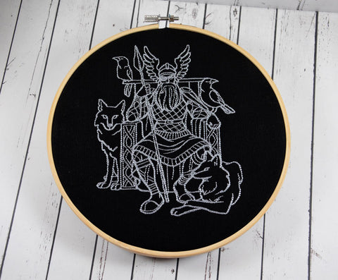 Odin of Asgard Embroidered Hoop Art, Norse God Mythology - The Curious Needle