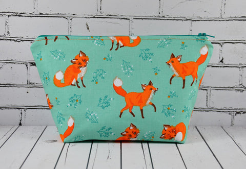 Aqua and Orange Fox Makeup Bag, Large Zip Pouch.