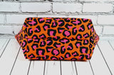Leopard Print Makeup Bag, Rockabilly Zip Pouch