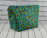 Peacock Feathers Print Make Up Bag - The Curious Needle