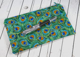 Peacock Feathers Pencil Holder, Pencil Case Bag, Makeup Case - The Curious Needle