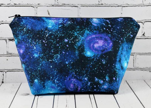 Galaxy Print Make Up Bag, Solar System, Space Zip Pouch - The Curious Needle