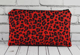 Red Leopard Print Pencil Case