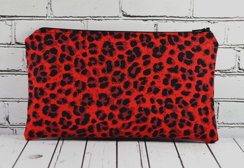 Red Leopard Print Pencil Case - The Curious Needle