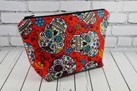 Red Sugar Skull Makeup Bag, Rockabilly Large Zip Pouch