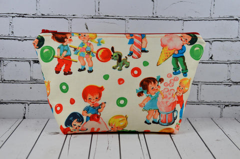 Retro Kids Makeup Bag, Large Zip Pouch, Cosmetic Bag - The Curious Needle