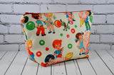 Retro Kids Makeup Bag, Large Zip Pouch, Cosmetic Bag