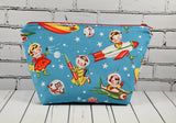 Retro Space Kids Makeup Bag, Kitsch Zip Pouch, Cosmetic Bag - The Curious Needle
