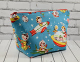 Retro Space Kids Makeup Bag, Kitsch Zip Pouch, Cosmetic Bag