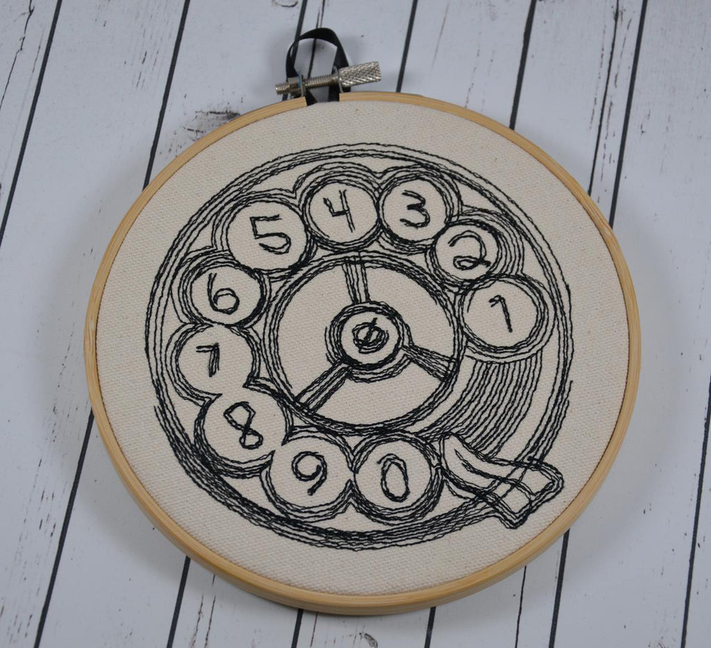 Rotary Telephone embroidery Hoop art