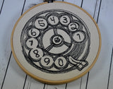 Retro Rotary Telephone Hoop Art - Machine Embroidered Art