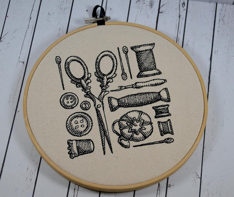 Sewing Craft Room Hoop Art - Machine Embroidery - The Curious Needle