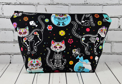 Day of the Dead Cats Makeup Bag, Sugar Skull Large Cosmetic Bag