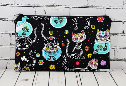 Cat Sugar Skull Pencil Case