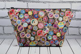 Spools of Thread Makeup Bag, Sewing Themed Large Zip Pouch - The Curious Needle