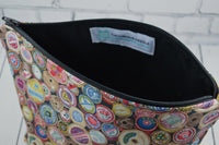 Spools of Thread Makeup Bag, Sewing Themed Large Zip Pouch