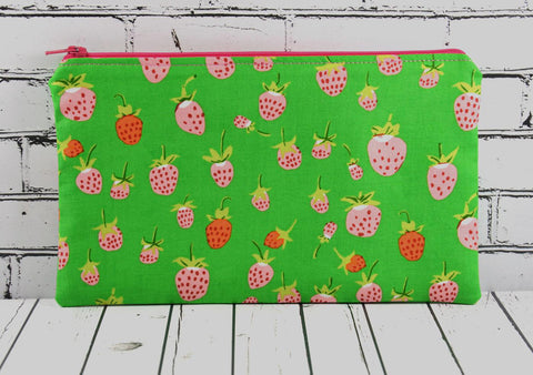 Strawberry Pencil Case, Cute Strawberry Zip Pouch