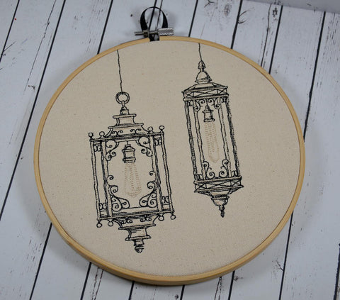 Victorian Lanterns Hoop Art - Machine Embroidery - The Curious Needle
