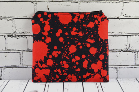 Blood Spatter Coin Purse, Small Zip Pouch