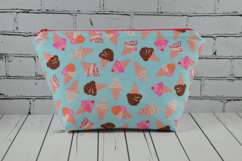 Ice Cream Makeup Bag, Kawaii Large Zip Pouch - The Curious Needle