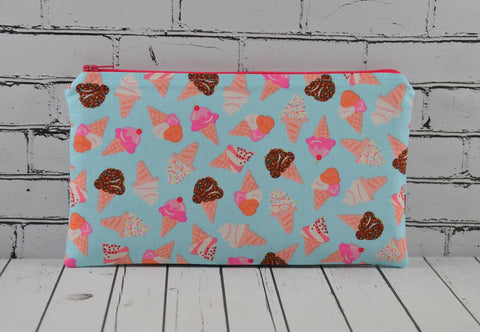 Ice Cream Pencil Case, Kawaii Zip Pouch - The Curious Needle