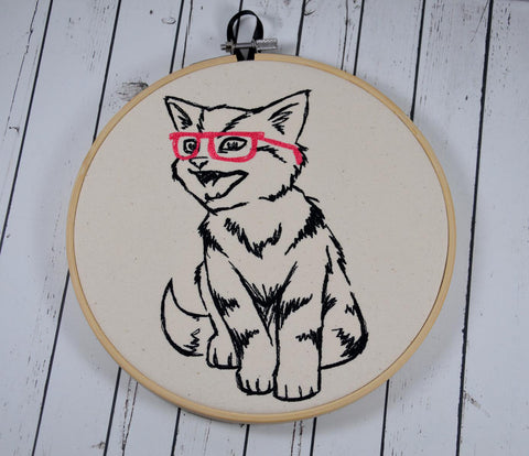 Hipster Cat Hoop Art - Machine Embroidery Wall Art - The Curious Needle