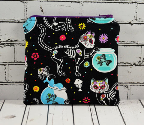 Cat Sugar Skull Coin Pouch, Cute Small Zippered Pouch
