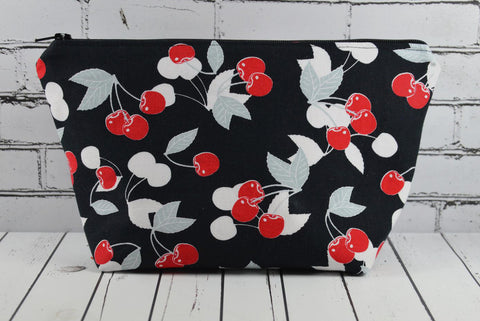 Cherry Makeup Bag, Rockabilly Zip Pouch - The Curious Needle