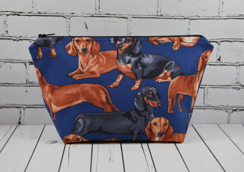 Dachshund Make Up Bag, Dog Cosmetic Pouch - The Curious Needle