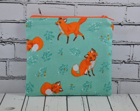 Fox Coin Pouch, Cute Small Zippered Pouch