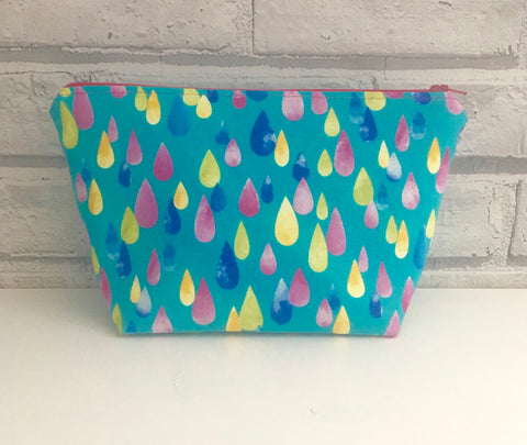 Raindrops Make Up Bag, Colourful Zip Pouch - The Curious Needle