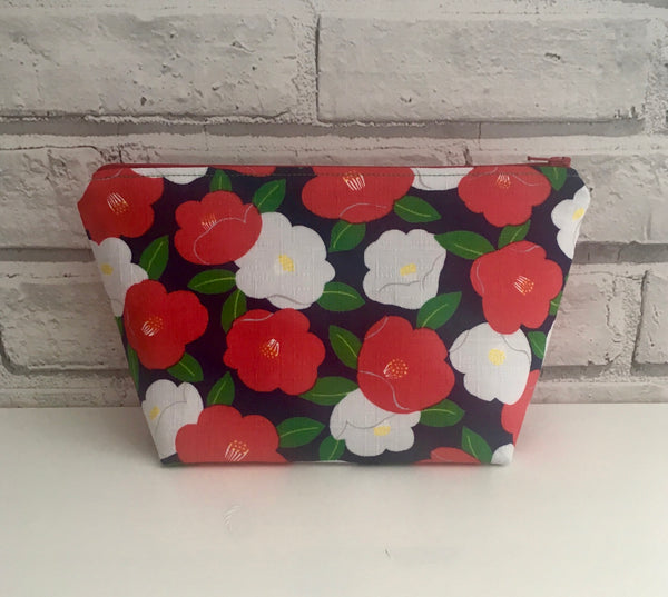 Red and White Floral Make Up Bag
