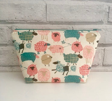 Sheep Make Up Bag, Large Zip Pouch - The Curious Needle